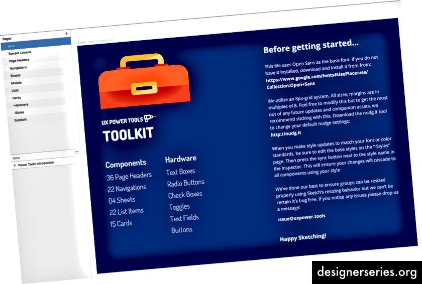 Her er siderne i UX Power Tools-kit, vi arbejder på, så du kan se, hvordan vi har opdelt tingene. ProTip: Hvis du tilføjer en bindestreg i begyndelsen af din side eller navnet på kunstkortet, synkroniseres de ikke med InVision!