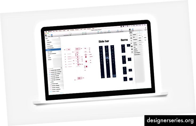 Het ontwerpsysteem (en middelen voor de documentatie) in uitvoering in Sketch