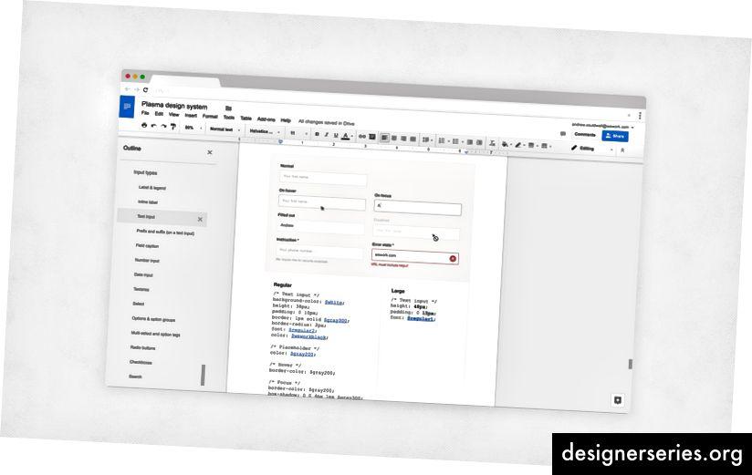 Documentación del sistema de diseño de plasma en un documento de Google