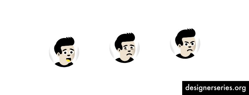Voorbeeld van Cody-gezichtsuitdrukkingen