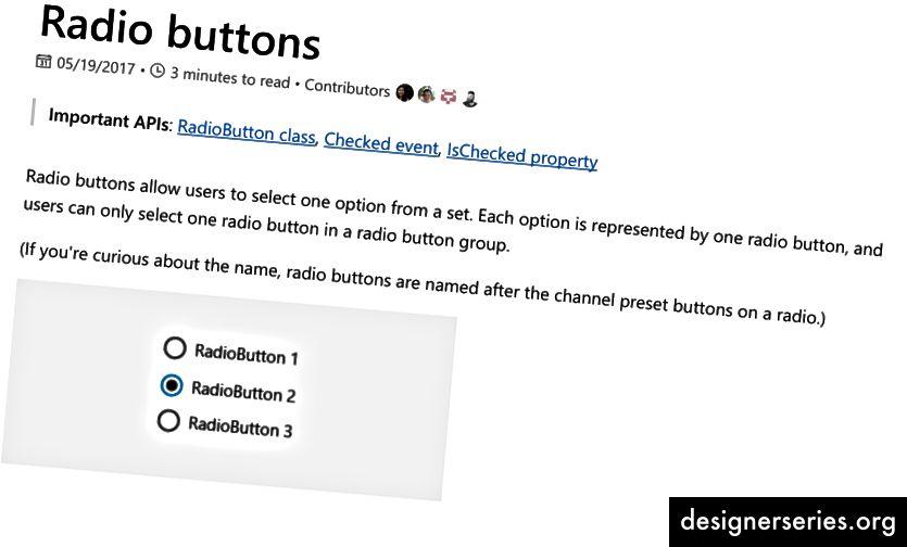 Microsofts flydende dokumentation om radioknapper.