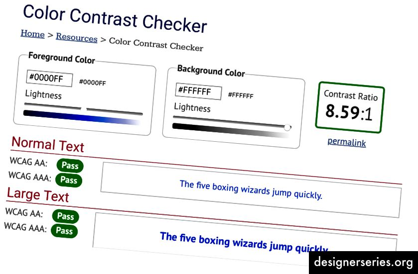 Tjek dette værktøj til at kontrollere tilgængelige kontrastforhold hos WebAIM.