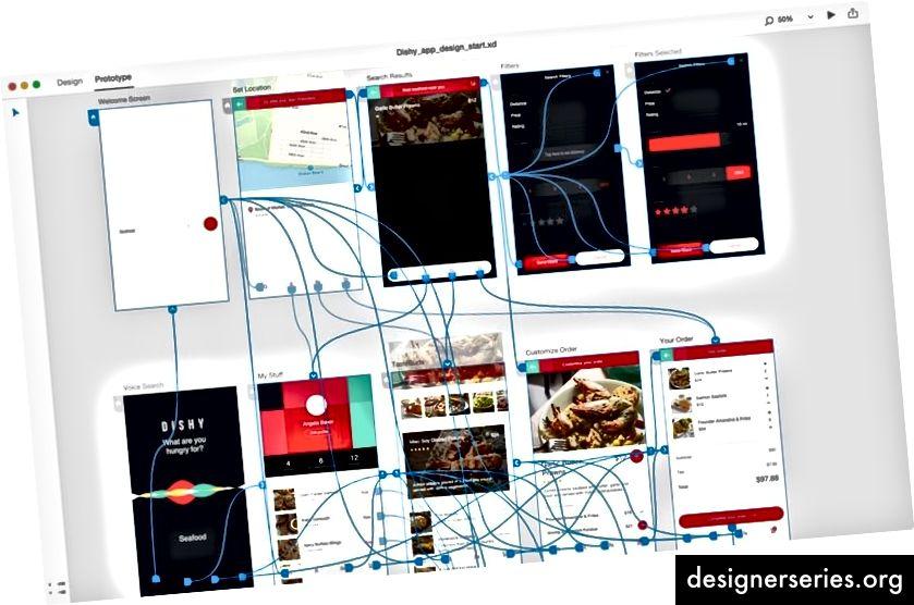 Hifi-prototype in Adobe XD toont interactie en esthetiek