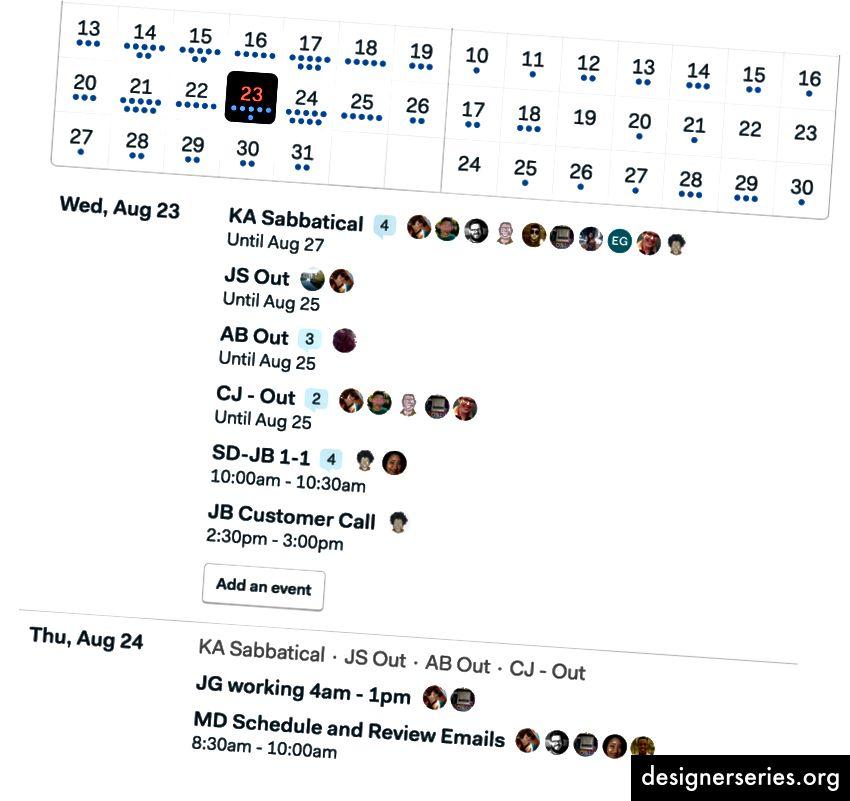 """Se hvordan """"KA Sabbatical"""" siger """"Indtil 27. august"""" under det øverst? Nu ved du, KA vil være ude indtil den 27.. Og den 24. ser du også"""