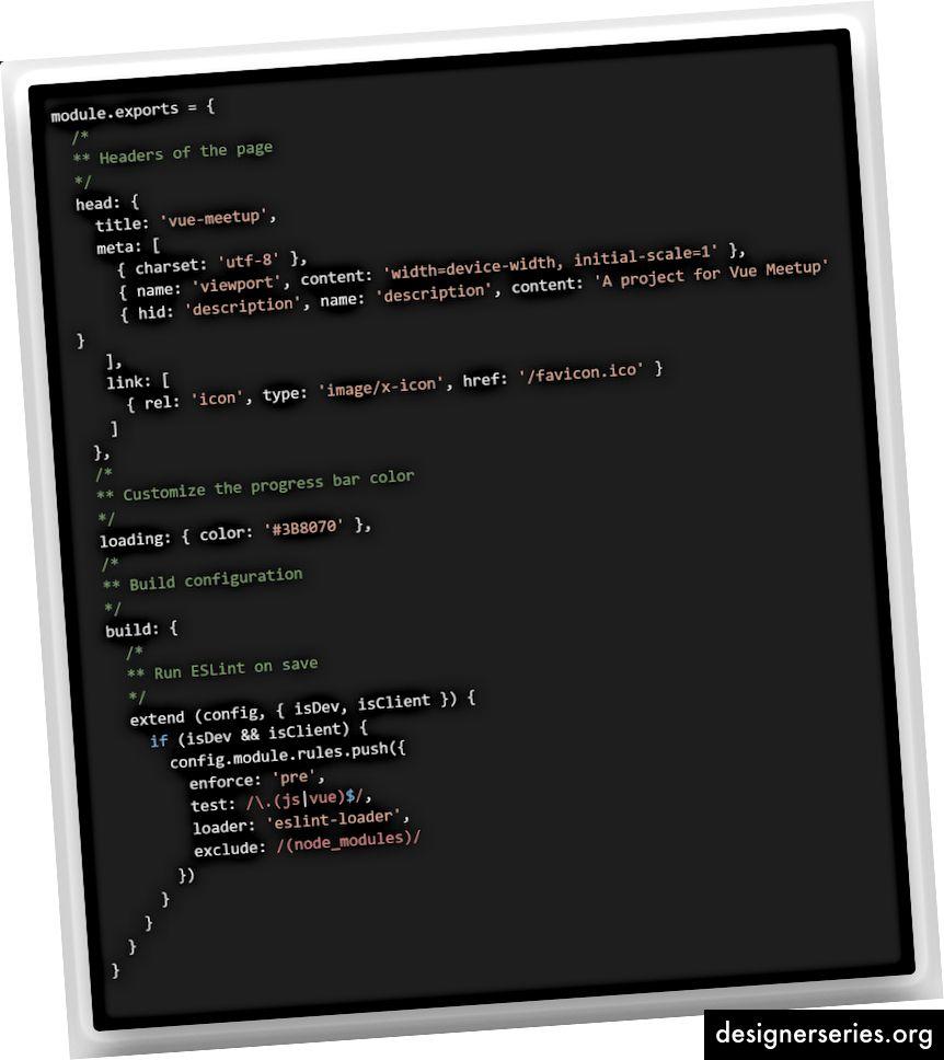 eerste nuxt.config.js-bestand voor mijn vue-meetup-gesprek