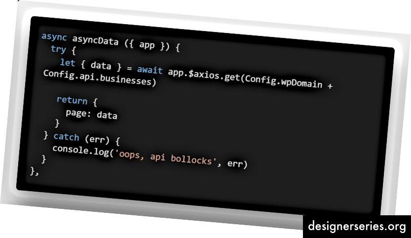 asyncData retourneert een nieuwe gegevenseigenschap op de lokale .vue-pagina