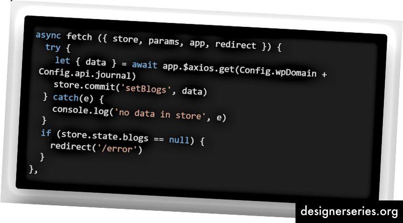 Mit Fetch können wir neue Daten von einer API in den Store übertragen