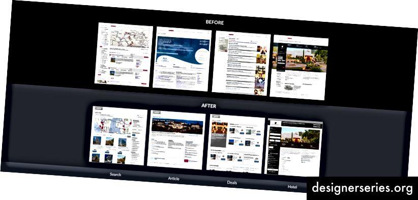 Diseños de referencia de etapa inicial para el período de rediseño receptivo de Marriott.com 2012–2014.