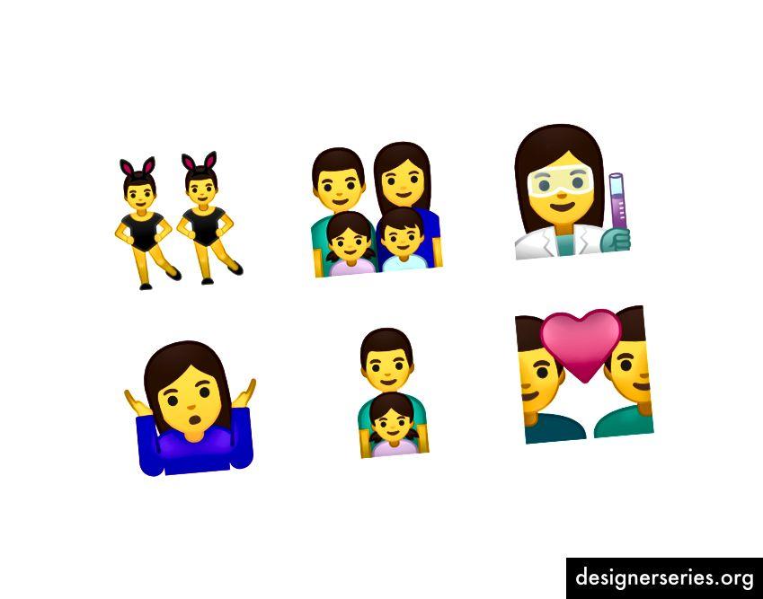 Voorbeelden van de opnieuw ontworpen mensen-emoji