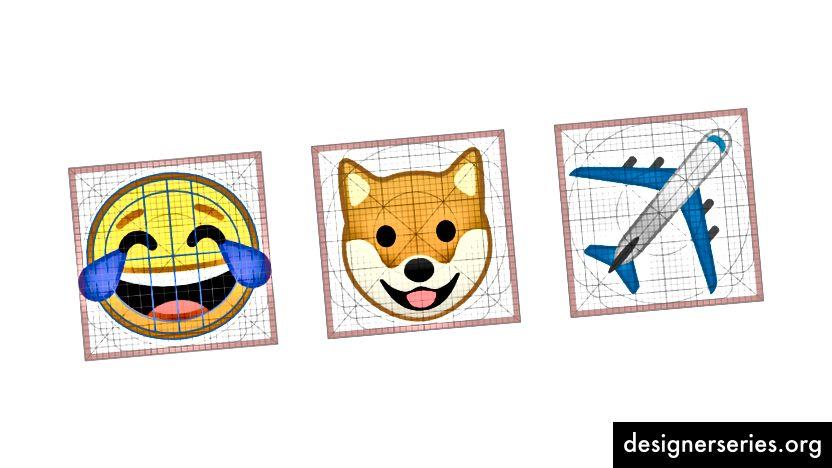 Emoji zijn ontworpen op een enkel raster om de leesbaarheid en consistentie te maximaliseren.