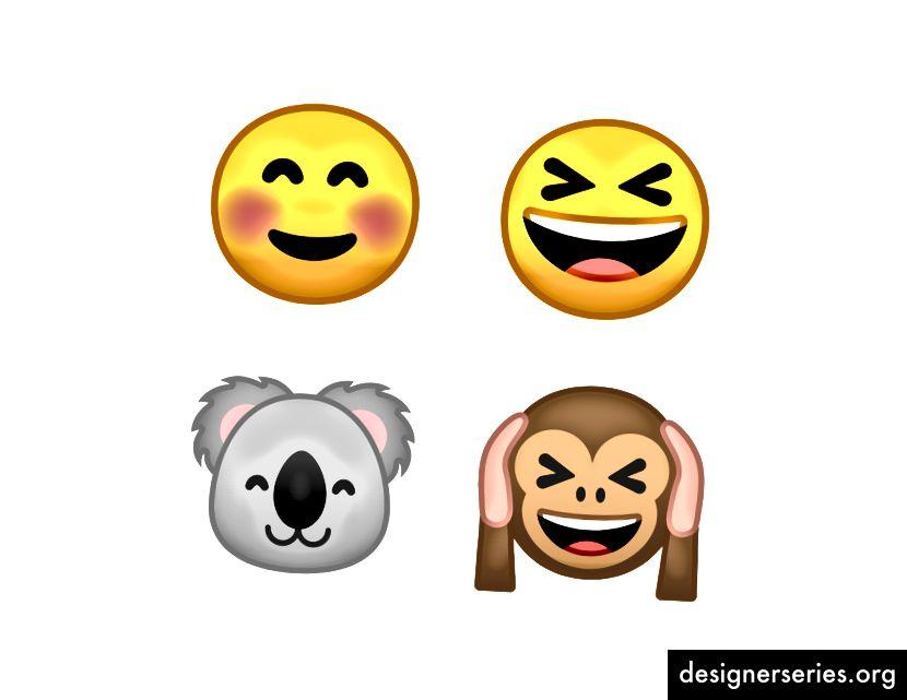 We hebben veel van de oog- en mondcomponenten gedeeld tussen de uitdrukking en dierlijke emoji.