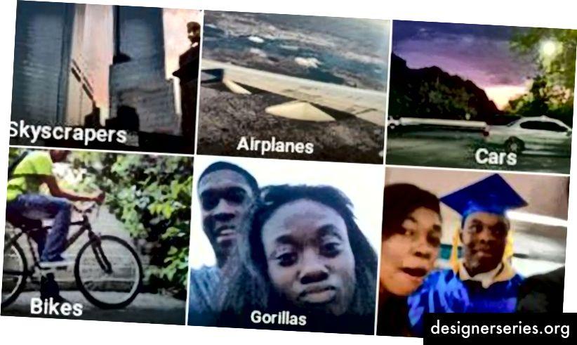 Exemplu de algoritm defectuos de recunoaștere a imaginii care etichetează oamenii negri ca gorile