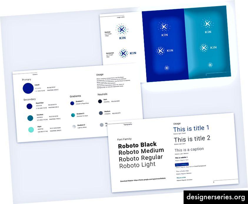 De la guía de estilo Kin: ilustración de héroe y punto, usos de logotipo, colores y tipografía