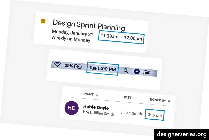 Календар Google, Apple і Послання, які стосуються стилю AP, стосуються часу форматування.