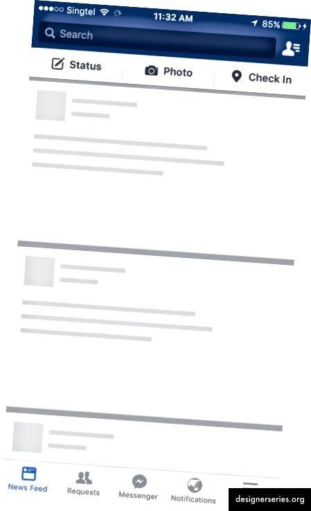 Facebook, използвайки скелетен екран, за да подобри възприеманата производителност, когато го отворите за първи път
