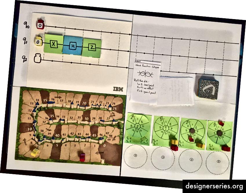 La primera versión de nuestro juego de mesa tomó prestados componentes de Carcassone, otro juego que disfrutamos.