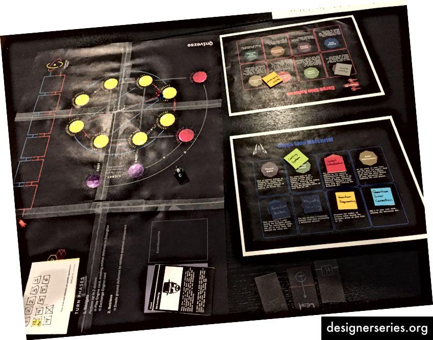 En la iteración cuatro, nos decidimos por un tema de ciencia ficción en el que los jugadores mueven sus naves espaciales de un planeta a otro para recuperar los componentes de una computadora cuántica.