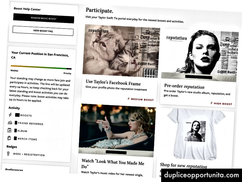 Portale dei fan verificato di Ticketmaster di Taylor Swift
