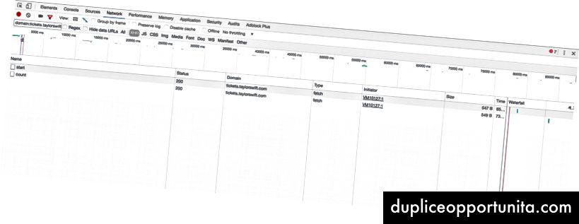 attività di rete filtrata per dominio: tickets.taylorswift.com