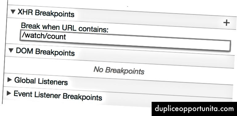 imposta un breakpoint XHR per / watch / count