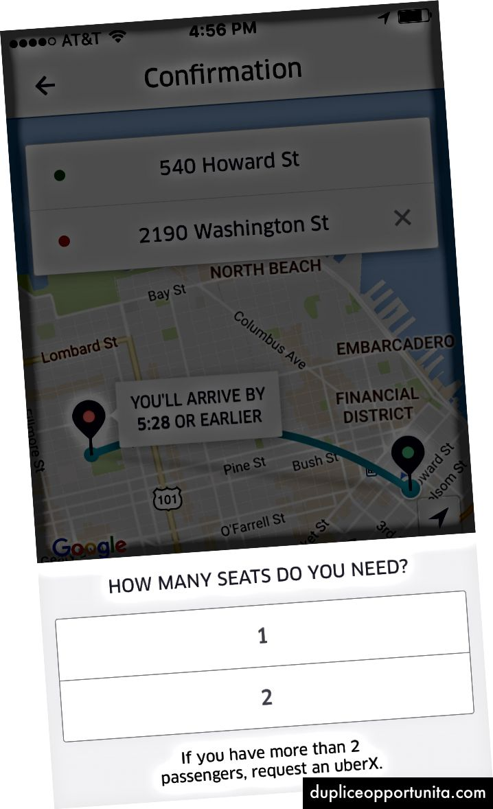 Schermate di conferma per Lyft Line e uberPOOL.