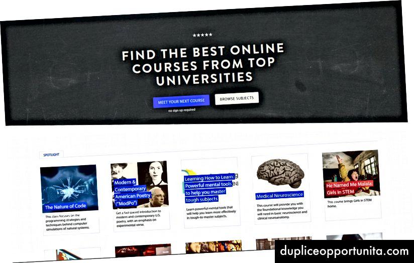 Home page di Class Central.