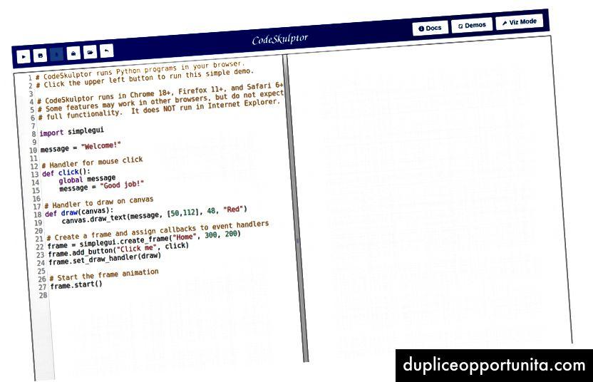 CodeSkulptor: ambiente di programmazione Python basato su browser utilizzato per i MOOC della Rice University.