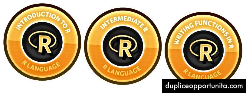 DataCampの一連のRコースの最初の3つのコース。