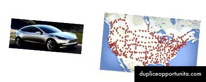 Tesla Model 3 e ubicazioni dei compressori statunitensi