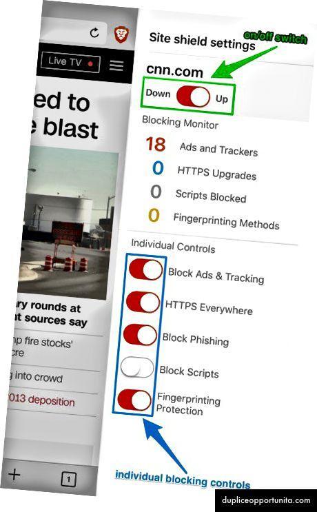 iOSに示すように、Brave Webブラウザーコントロール。