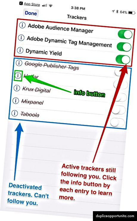 GhosteryのGhostアイコン(左)をタップすると、追跡しているすべてのCookieのリスト(右)が表示されます。その後、詳細を確認したり、無効にしたりできます。