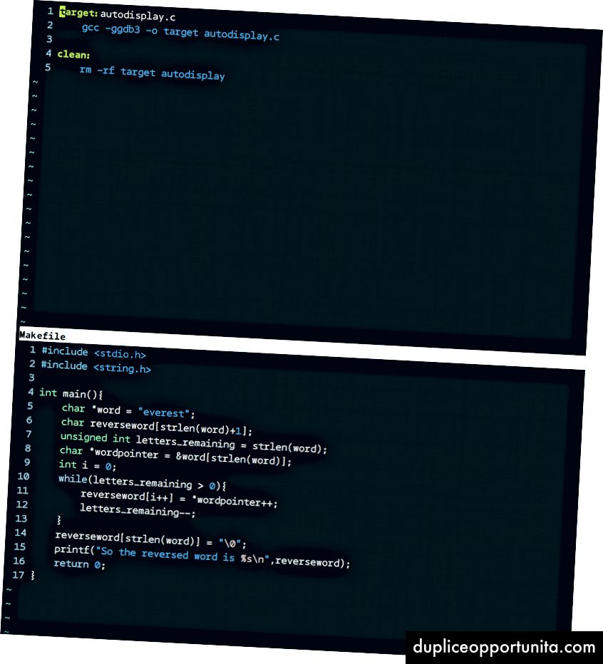 일반 창 (왼쪽 위), : split <파일> (오른쪽 위), : vsplit <파일> (아래)