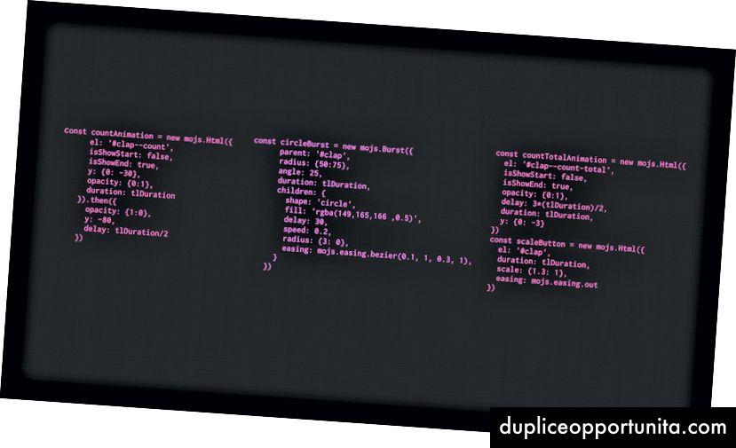 Eksempelkonfigurationer til animationerne, der er drevet af mo.js
