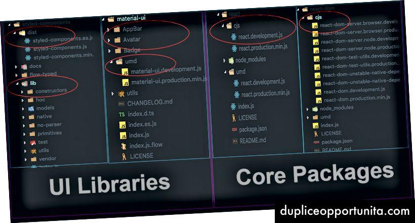 Librerie vs pacchetti creano un confronto di output