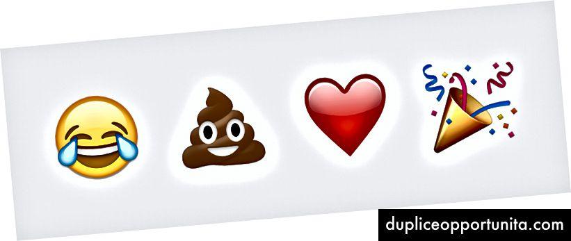 Raymond ha disegnato il viso con lacrime di gioia e un mucchio di cacca e io ho disegnato il cuore rosso e la festaiolo. Esempi di Emoji provengono da Emojipedia.