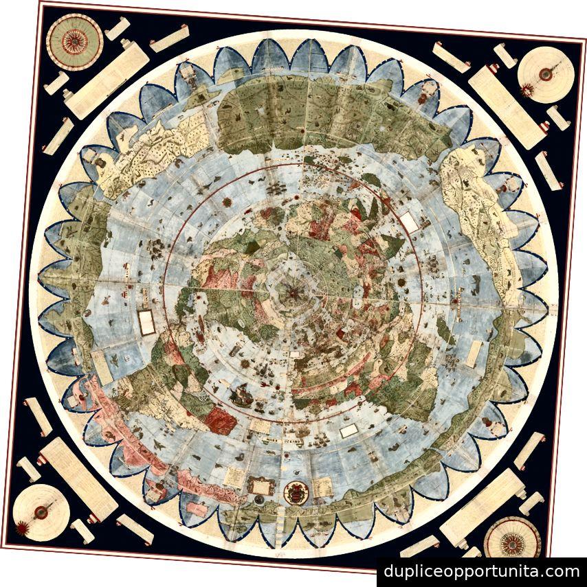 Il planisfero di Urbano Monte, cucito digitalmente insieme. Fonte: Rumsey Map Center