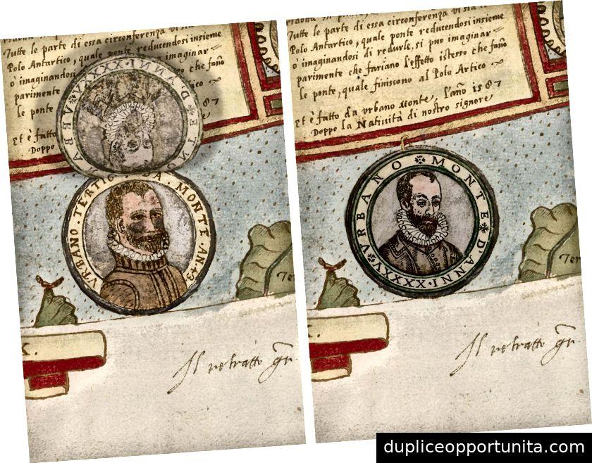 タボラXXXXIIの詳細(南極大陸、1587年と1589年のアーバノモンテポートレート)。