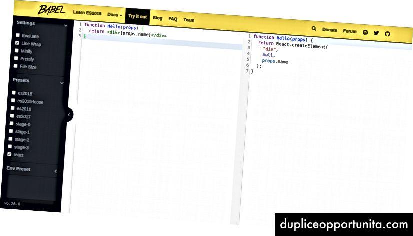 Usa Babel REPL per trasformare JSX in semplice JavaScript