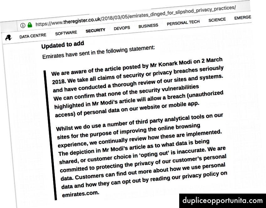 Коментар от Emirates на theregister.co.uk