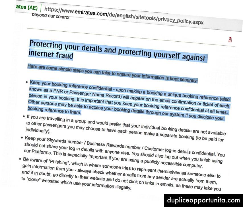Политика за поверителност, подчертаваща рисковете от споделяне на референтен номер на Booking.