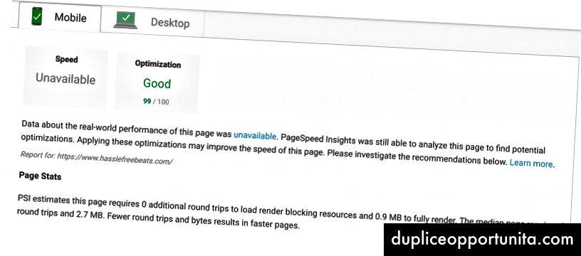 Kuvakaappaus PageSpeed Insights -pisteistä.