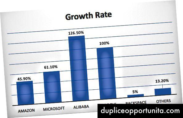 Tasso di crescita per i fornitori di cloud pubblico nel 2016 [fonte]