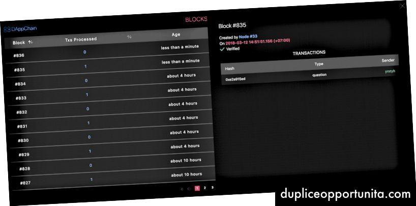 Block Explorer giver dig mulighed for at se transaktionerne, når de bliver inkluderet i DAppChain