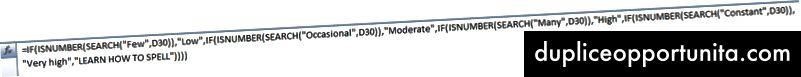 Пример за това как Excel ако изявленията могат да станат грозни и да станат доста дълги много бързо.
