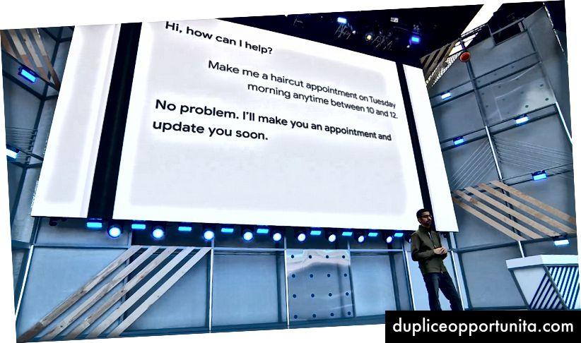 Главният изпълнителен директор на Google Сундар Пичай поставя в движение бъдещето на AI за глас. (Кредит: Google).