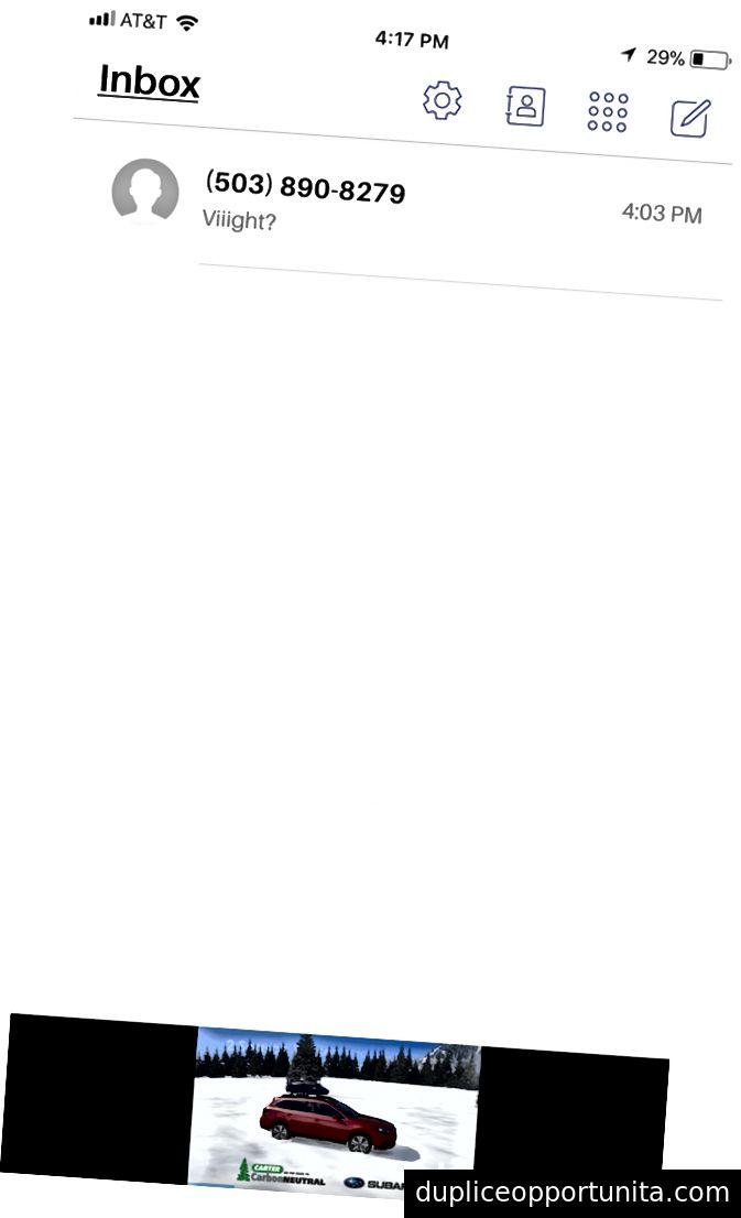 Екранът грабва от Pinger Textfree. Забележете рекламата долу вдясно.