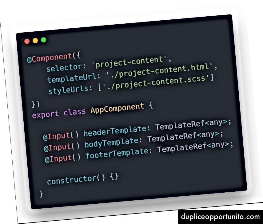 Esimerkki 2 - Muokattavan komponentin valmistus, projekti-content.ts