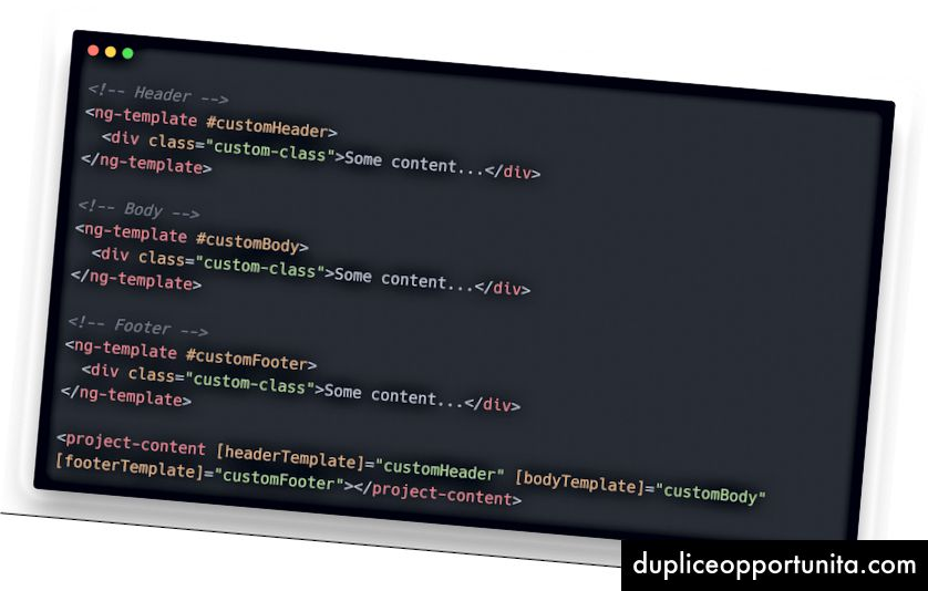 Esimerkki 2 Äskettäin muokatun komponentin <projekti-sisältö> käyttäminen