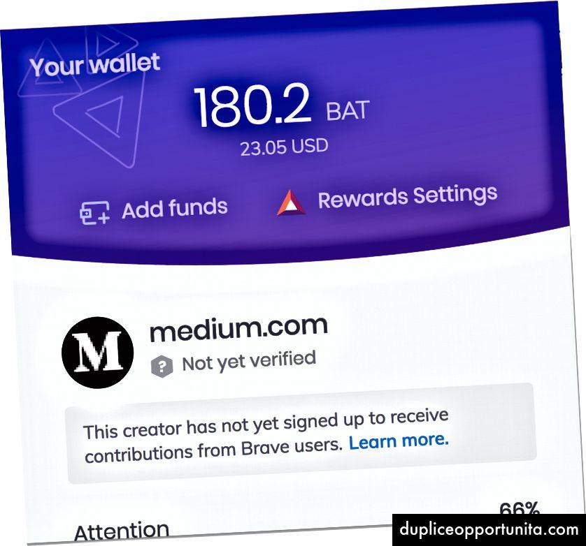 Näyttökuva: Rohkea selaimeen integroitu BAT-lompakko
