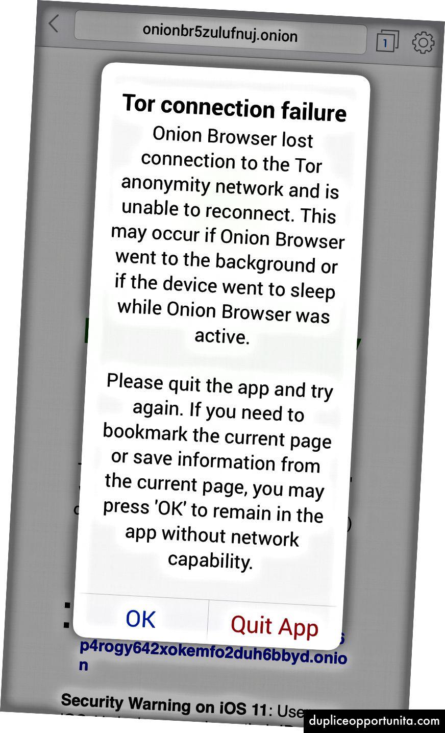 Hjemmesiden til Onion Browser (til venstre), NY Times .onion-side (center) og appens krav om at forblive aktiv (højre).